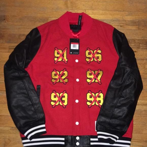 Nike Air Jordan 5 AJ5 Satin Full Zip Jacket Red Black AR3130-687 Men/'s Large L